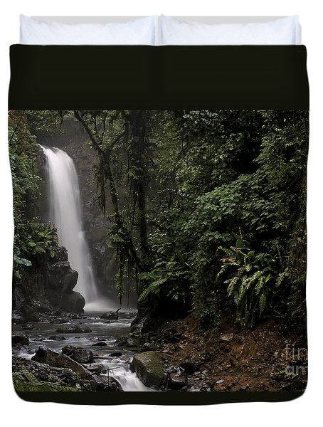 Duvet Cover featuring the photograph Encantada Waterfall Costa Rica by Teresa Zieba