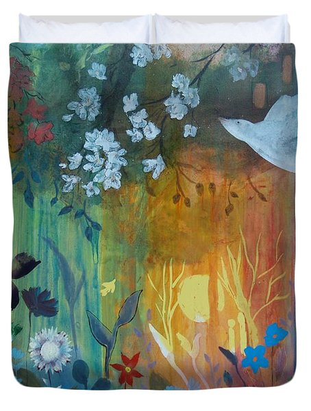 Duvet Cover featuring the painting Encantador by Robin Maria Pedrero