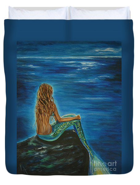 Enchanted Mermaid Beauty Duvet Cover by Leslie Allen