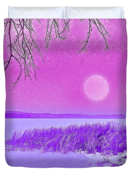 Duvet Cover featuring the digital art Rosy Hued Moonlit Lake - Boulder County Colorado by Joel Bruce Wallach