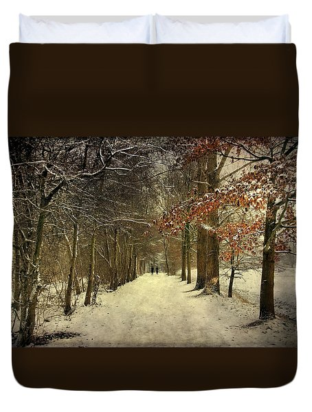 Enchanting Dutch Winter Landscape Duvet Cover by Annie Snel