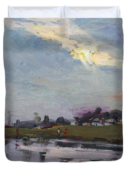 End Of Day By Elmer's Pond Duvet Cover