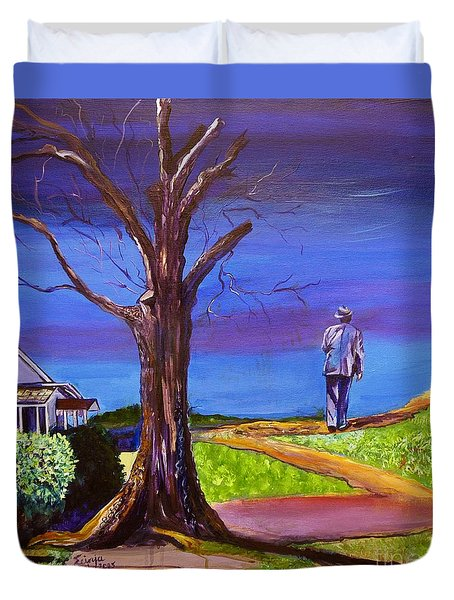 Duvet Cover featuring the painting End Of Day Highway 98 by Ecinja Art Works