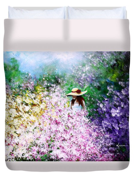 Duvet Cover featuring the painting End Of May by Kume Bryant