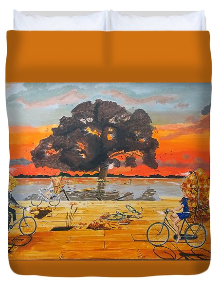 End Of Season Habits Listen With Music Of The Description Box Duvet Cover