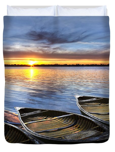 End Of The Day Duvet Cover by Debra and Dave Vanderlaan