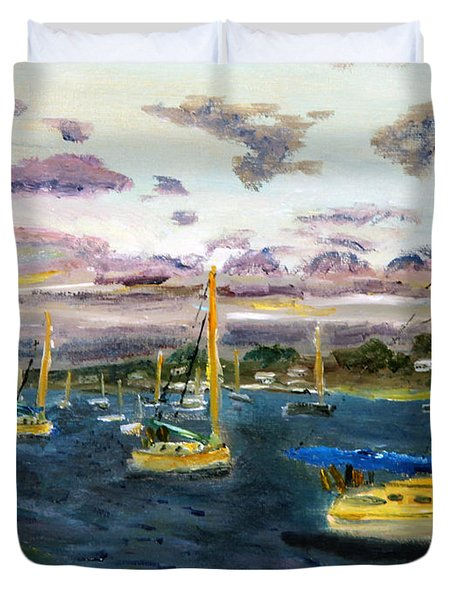 End Of The Day On Cape Cod Bay Duvet Cover