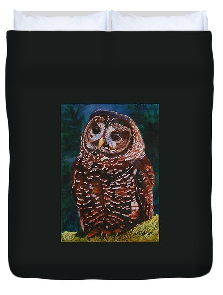 Endangered - Spotted Owl Duvet Cover by Mike Robles