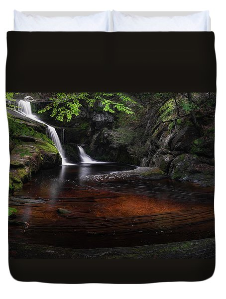 Duvet Cover featuring the photograph Enders Falls Spring by Bill Wakeley