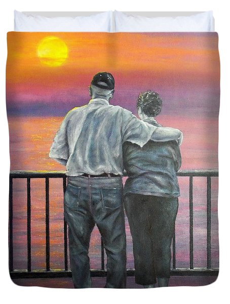 Duvet Cover featuring the painting Endless Love by Susan DeLain