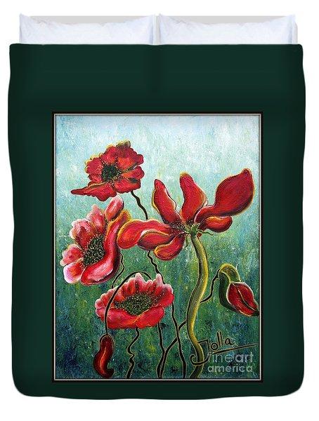Endless Poppy Love Duvet Cover by Jolanta Anna Karolska