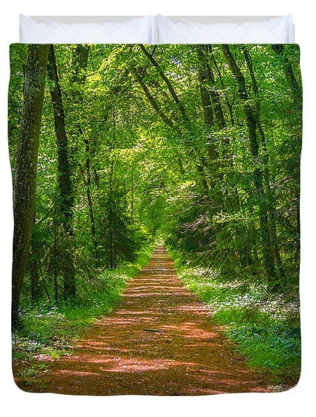 Endless Trail Into The Forest Duvet Cover by Nila Newsom