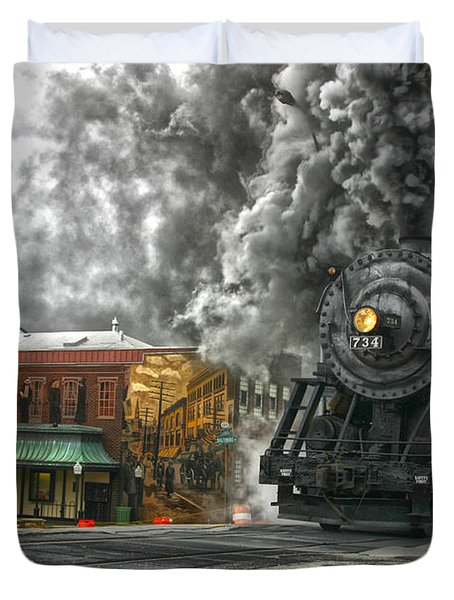 Engine 734 On The Western Maryland Scenic Railroad  Duvet Cover