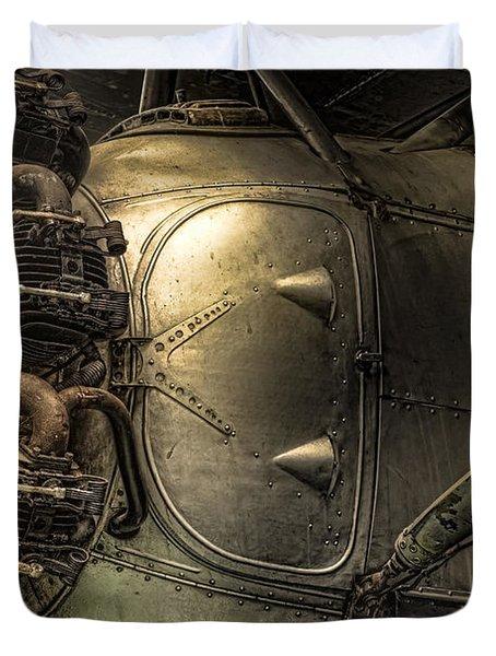 Radial Engine And Fuselage Detail - Radial Engine Aluminum Fuselage Vintage Aircraft Duvet Cover
