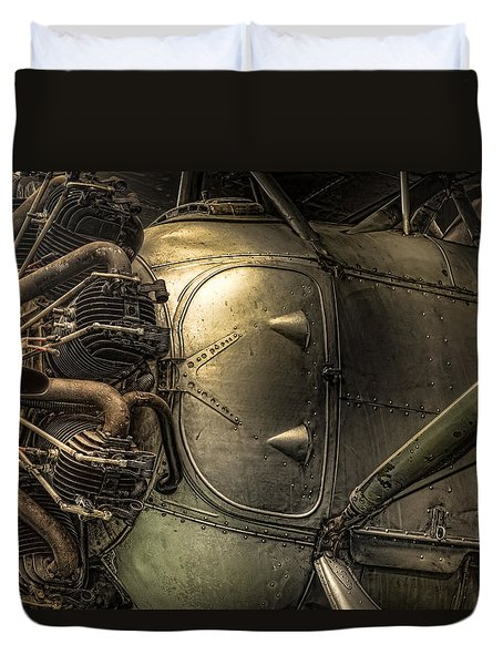 Radial Engine And Fuselage Detail - Radial Engine Aluminum Fuselage Vintage Aircraft Duvet Cover