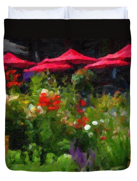 Duvet Cover featuring the digital art English Country Garden by Richard Farrington