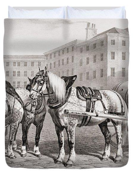 English Farm Horses, 1823 Duvet Cover
