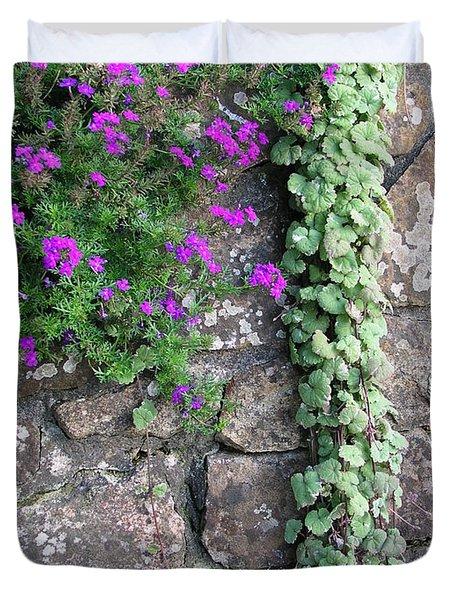 English Garden Wall Duvet Cover by Bev Conover