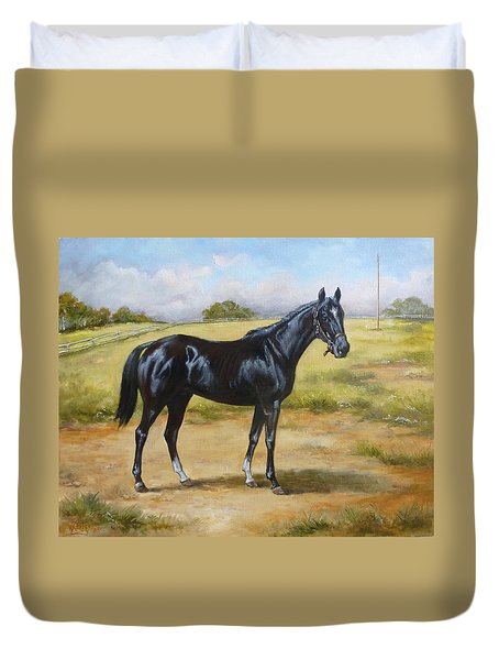 English Horse - Black Huzar Duvet Cover