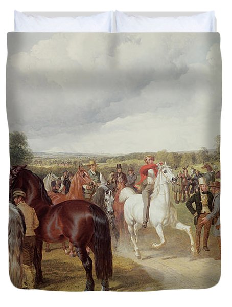 English Horse Fair On Southborough Common Duvet Cover by John Frederick Herring Snr