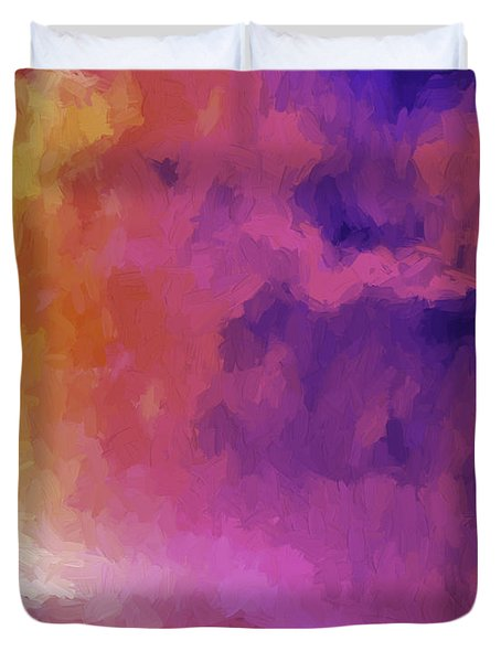 Duvet Cover featuring the painting Enigma by Ken Frischkorn