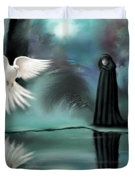 Duvet Cover featuring the painting Enigma by Sgn