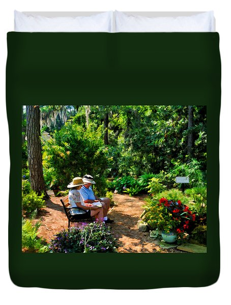 Loving Couple Enjoying Their Prayer Garden Duvet Cover