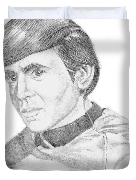 Duvet Cover featuring the drawing Ensign Pavel Chekov by Thomas J Herring