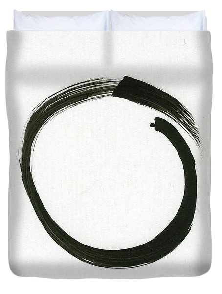 Enso #1 - Zen Circle Minimalistic Black And White Duvet Cover