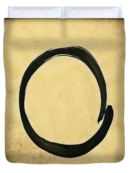 Enso #4 - Zen Circle Abstract Sand And Black Duvet Cover