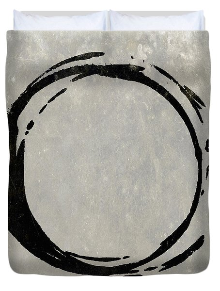 Enso No. 107 Black On Taupe Duvet Cover
