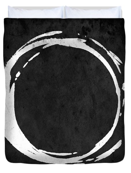 Enso No. 107 White On Black Duvet Cover