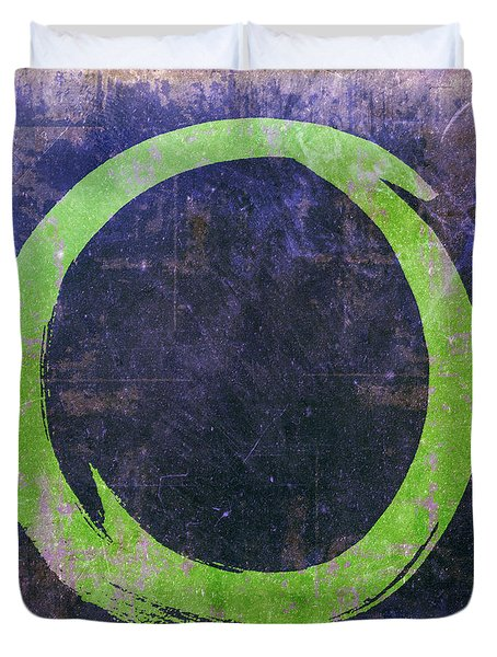 Enso No. 108 Green On Purple Duvet Cover