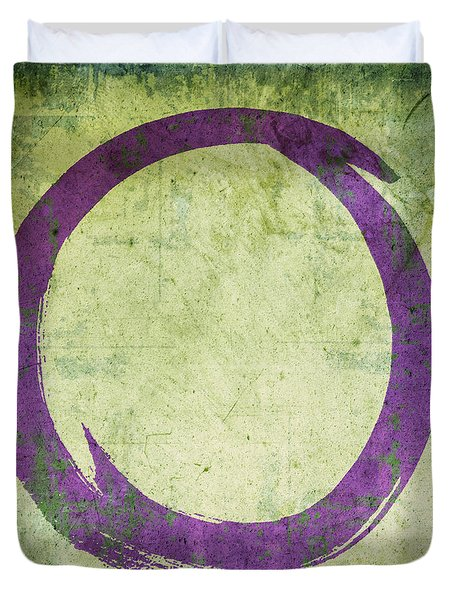Enso No. 108 Purple On Green Duvet Cover