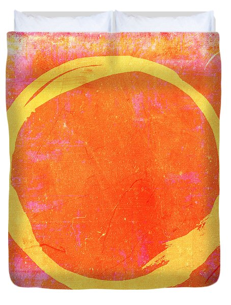 Enso No. 109 Yellow On Pink And Orange Duvet Cover