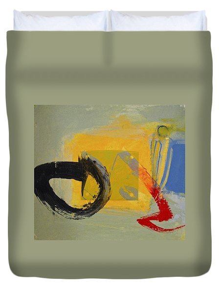 Duvet Cover featuring the painting Enso Sun Block by Cliff Spohn