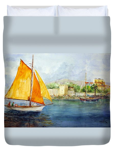 Entering The Port - Foca Izmir Duvet Cover