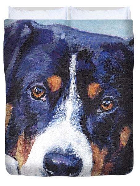 Entlebucher Mountain Dog Duvet Cover by Lee Ann Shepard