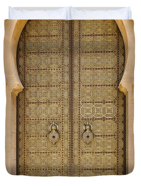 Entrance Door To The Mausoleum Mohammed V Rabat Morocco Duvet Cover by Ralph A  Ledergerber-Photography