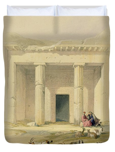 Entrance To The Caves Of Bani Hasan Duvet Cover by David Roberts
