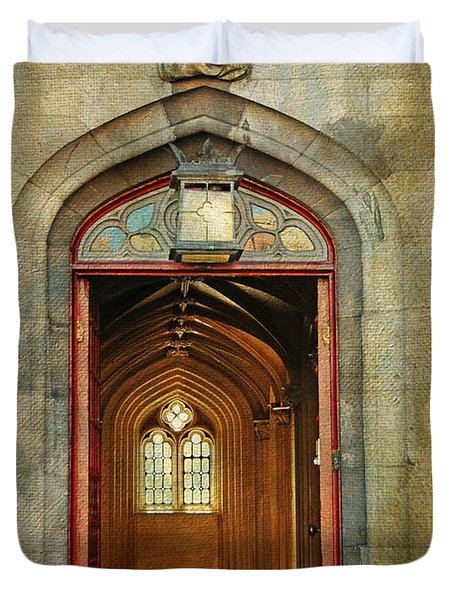 Entrance To The Gothic Revival Chapel. Streets Of Dublin. Painting Collection Duvet Cover by Jenny Rainbow