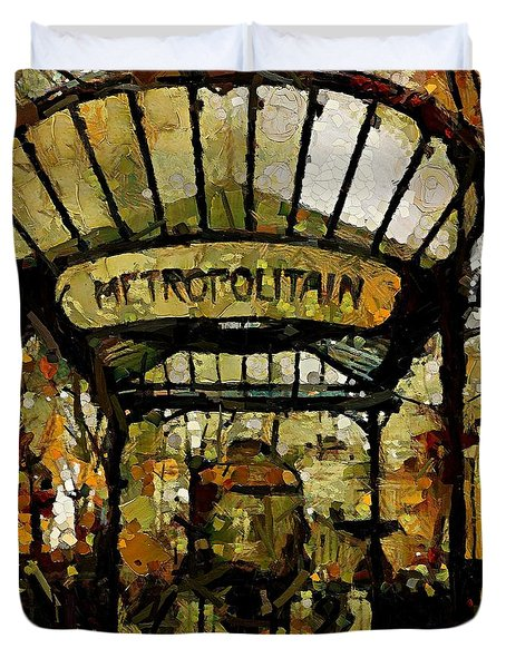 Entrance To The Paris Metro Duvet Cover