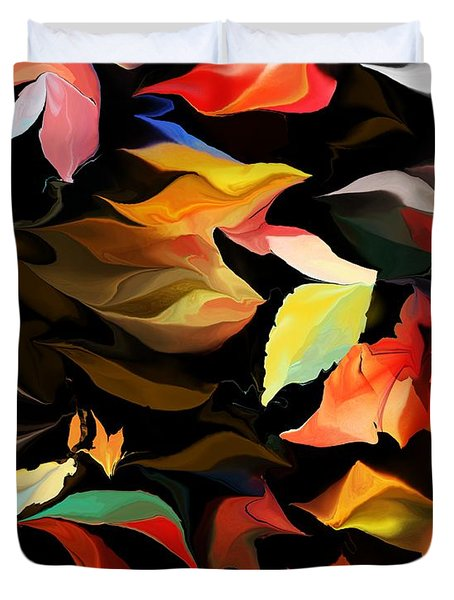 Duvet Cover featuring the digital art Entropic Dance Of The Salamander First Snow.  by David Lane