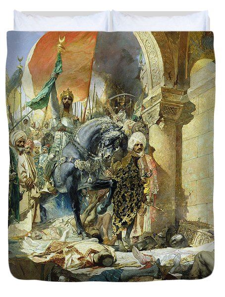 Entry Of The Turks Of Mohammed II Duvet Cover by Benjamin Constant