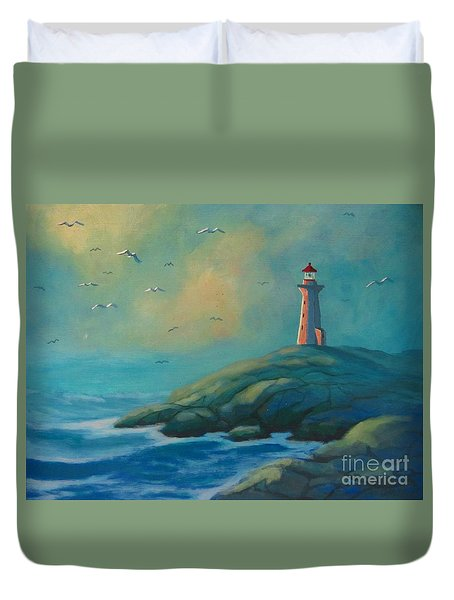 Envisioning Peggys Cove Lighthouse Duvet Cover by John Malone