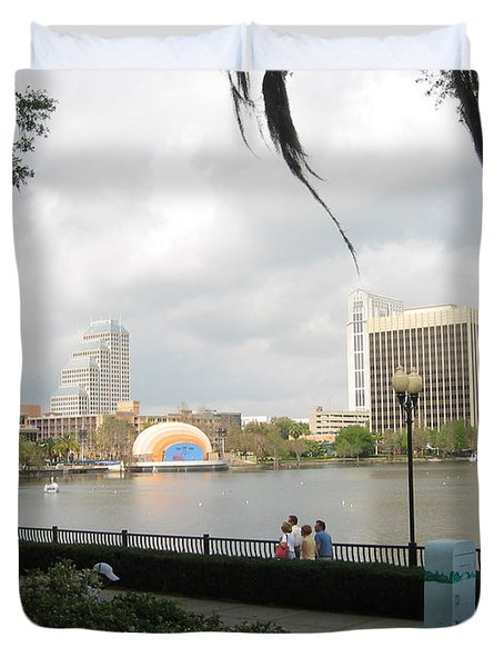 Duvet Cover featuring the photograph Eola Park In Orlando by Judith Morris