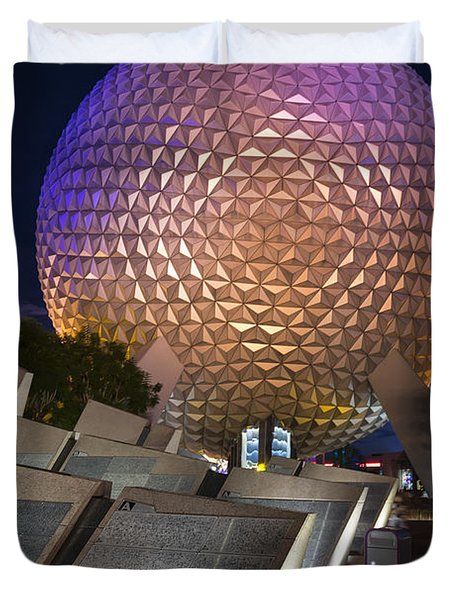 Epcot Spaceship Earth Duvet Cover by Adam Romanowicz