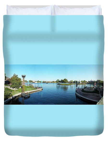 Epcot World Showcase Lagoon Panorama 05 Walt Disney World Duvet Cover by Thomas Woolworth