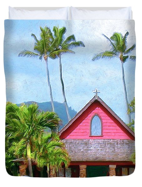 Episcopal Church In Kapaa Duvet Cover by Dominic Piperata