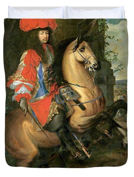 Equestrian Portrait Of Louis Xiv 1638-1715 Oil On Canvas Duvet Cover